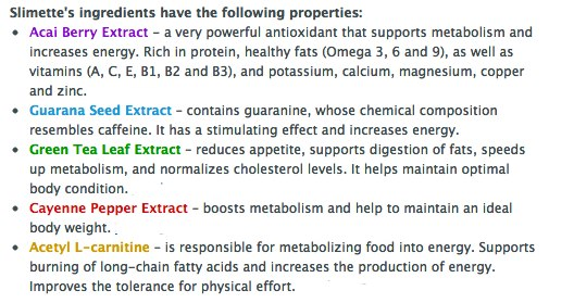 Slimette key ingredients