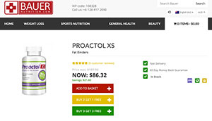 Proactol XS website from Bauer Nutrition in Australia
