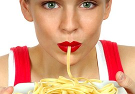 woman eating carbohydrates